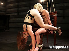 Hot Slutty Blond dominated in Bella Rossis Kinky Lesbian Fantasy : An article on lesbian sex positions inspires Bella Rossis sadistic lesbian fantasies as a casual pedicure turns into a perverted fantasy. Take a look into the sadistic perverted desires for crazy lesbian sex positions, bondage, flogging, spanking, fingering, nipple clamps, pussy licking, tons of strap on vag and anal.
