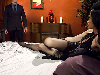Time Travel Sex with New Dom, Penny Tyler : Logan Vaughn pays his life savings for a chance to travel back in time to the 1950s where exotic Dominatrix, Penny Tyler is waiting for him in her parlour. His fantasy is exactly as he wished, full of hot sex, deep blow jobs and Pennys cock in his ass. Penny takes total control over Logan and starts slow and seductive before unleashing her true desire to fuck him fast, hard and unrelenting until they both cum.