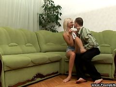 She gets face-fucked : This blonde libertine doesn and apost even need a bed to give her boyfriend a fucking he and aposll never forget. A large green corner sofa will do just fine when she gets face-fucked and follows with taking cock balls deep in her tight young pussy. She wants more and more begging her lover to keep fucking her from behind, on top and any other way he wants. What an insatiable teeny!