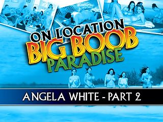 On Location Big Boob Paradise Angela White Part 2 : In part 2 of Angela Whites chapter of On Location Big Boob Paradise, the cameras follow Angela on the beach, in the beach house kitchen and living room, playing with Christy, Terry and with her idol, Lorna Morgan and posing for a group shoot. She was hard to keep up with!br br Lorna Morgan was Angelas roommate.br br Angela was adorable, Lorna told iSCOREi. I just liked her the second I met her, there isnt a bad bone in her body and she has a great body. Women, especially models can sometimes be very competitive or even a little insecure when they meet other models. I am not like that and I sensed that Angela was similar to me so we got on great instantly. Angela was not shy in admitting she liked my pictures in iSCOREi and it was just lovely to hear something positive about my modeling from a woman. I guess I always hoped I would appeal to women and men but I was never sure. Sharing a room with Angela was fun. She can be my roomy anytime.br br To be a fly on the wall in that bedroom. Even better, a camera!br