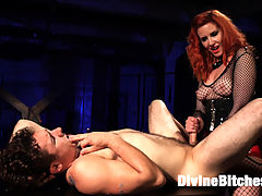 The Maitresse Milks Virgin Prostrate and Punishes Dripping Cock! : Today, Corbin Dallas walked in to the Divine Bitches dungeon with a virgin prostrate - never stroked, never pressed, certainly never milked. He had yet to feel its pleasures the intense need to piss and cum simultaneously, the torment and unimaginable sensation coursing up his cock. And today - after one of the most intense orgasams ever - this anal slut was released from our dungeon a new man. Maitresse Madeline blindfolded, teased, flogged, and whipped her eager slave, denying him the pleasure of looking at her divine pussy while he sniffed its nectar and strap-on fucked the Maitresse with his face. She then straps on the absolute biggest, thickest dildo at Kink and pushes Corbin to the edge of orgasm without even touching his cock, which drips at the very mention of the giant dick in his ass. The Maitresse, having warmed up Corbins hole, then slides her legendary prostrate-milking fingers into his ass and absolutely blows his mind, extracting every drop of cum from this new devotee of the Divine Bitches.