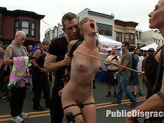 Folsom Street Spectacle! The ultimate humiliation of Mona Wales : Mona Wales is a tough cookie. She loves choking, spitting, face fucking and anal. She is the ultimate attention whore and loves to be degraded and humiliated in public. Will this be her most challenging shoot yet? Will this slut finally get enough disgrace to satisfy her whorish desires? First she gets a basic fucking over in a filthy bathroom- takes nasty cocks in the ass, a crowd of perverts and a face full of cum. But Ariel X is not through with her yet! Mona gets dragged outside and paraded through folsom street fair with painful electricity coursing through her body. Ariel prods her onward with a cane and a flogger and she ends up on the kink.com stage performing the ultimate act of humiliation.watch and find out! Pissing, face fucking, anal, electricity, bondage, extreme emotional humiliation.