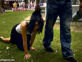Welcome to Madrid! Public walk of shame. : Spanish sweetheart Pamela Sanchez gets paraded around for all to see- Her skirt lifted up for all to gawk at her perfect round ass. Dunked in a fountain in a public park dragged through the middle of a crowded square with a wet T-shirt. She is humiliated by tourists in a restaurant then fucked in a leather shop. Finally she gets taken to a bar and turned into a helpless little fuck toy, unable to see through her leather zipper mask. She swallows HUGE cock, and gets fucked and disgraced in public.