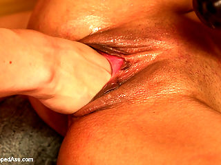 Sweaty Sadistic Lesbian Sauna : Katrina Kova puts in a sweaty workout at the gym then retreats to relaxing in the sauna where two lesbians cant seem to keep their hands off of each other, turning the sauna into a lesbian sexual playground! Katrina is super uncomfortable and asks the ladies to stop but these sadistic bitches arent going to let this straight girl leave without a big dose of lesbian BDSM and sex! Hard spanking, ass and pussy fisting, large insertions and double penetration are all included!