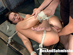 The Anal Queen Submits : Roxy Raye submits to bondage and rough sex and is dominated with a mans fist in her pussy and ass.
