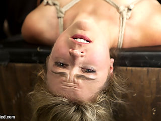 Busty Blonde Babe Gets Molested : We get our hands on super Winnie Rider for HogTied! Bust blonde MILF gets gagged, stripped, tied down and violated. Clamped pussy lips, mousetraps on the tits, hogtied suspension and relentless pussy pounding with thick dildos and vibrators highlight this shoot.