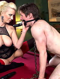 Personal House Slave Of Mistress Cherry Torn : Cherry Torn gives us a glimpse into a day in the life of her personal slave. From the moment he wakes up on the cold concrete floor he is made to devote every moment of his life to this all natural curvy goddess! Cock edging and tease and denial, dildo gag and deep anal strap-on fucking in chastity are all included!