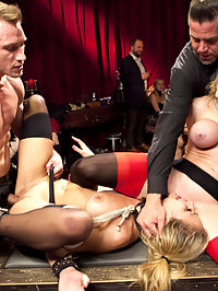 Folsom Eve Orgy, Part 2 : Carmen Caliente and Darling get manhandled and worked over by Mr. Bailey and The Pope. A brutal hardcore bondage, asshole licking anal fuck scene starts the night off right out of the gate. Carmen and Darling just keep giving it up hard the whole night with Bill pounding their pussies and the Pope keeping on top of the discipline.