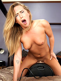 Carter Cruise and The Machines - Starlet vs Steel : Carter Cruise is the new name everyone is uttering while they jack off. Shes hot, new, and wants to try it all. Shes like kinky sex and she likes to get pounded so its a match made for the machines. She does some breath play with The Squirt machine and she cums so hard, she cries a little. We kind of love it when that happens! Every orgasm of Carters is worth watching form beginning to end and The Sybian scene is a classic finish to this great shoot. She cant handle the mega-vibe and has to leap off when shes finished! Kinda wish we had tied her to it....theres always next time!