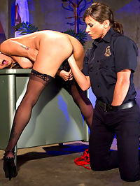 Turning Tricks, Taking Dicks : When another hooker is booked for turning tricks, Officer Ariel X has to check all of her holes for contraband...thoroughly. Soon, Ariel is up to her wrist in this sluts cunt, fisting her dripping pussy in between paddlings, floggings, heel licking, and enough spanking to turn Nadias tight round ass a bright crimson. In order to earn her freedom, however, Nadia must submit to a brutal line of clothespins pinching the glistening lips of her open cunt as she expertly devours Ariels pussy and asshole. Unsatisfied with just one hole, Officer X ties the hooker to her desk, shoving her strap-on deep into Nadias hungry ass until she squirts uncontrollably all over her new favorite cop.