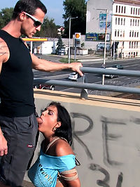BEST OF EUROPE BIG NATURAL TITS TIED IN PUBLIC!!!! : Black Yasmin is a beautiful Romanian girl with HUGE natural tits. She had never tried bondage before, but was eager to have her breasts bound and displayed in public. First she gets strung up by her tits, flogged and vibrated to orgasm. Then we take her to a hill where she sucks cock and gets fucked while a happy tourist fondles her tits and ass. It just goes to show you, it pays to be in the right place at the right time, cause you never know when you will get to fondle and suck on giant tits in public!