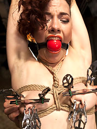 Double Penetration Predicament : Ingrid Mouth is a tough customer and gets the full HogTied treatment. Big natural tits are tied and clamped tight while she is made to grind one out on the wooden pony. Nipple and Clit suction cups torment her most sensitive parts, and double doggie penetration in inescapable bondage send her over the edge. Hot. Just plain Hot.