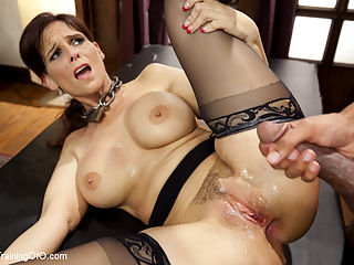 Domestic Anal MILF Training Syren de Mer, Day One : Anal MILF Syren de Mer is trained in domestic cock service. First she is challenged to endure a simple stress position to earn her training collar. Hard face fucking while warming up her ass for reverse anal fucking.