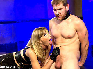 Going Deep : Mona Wales strips slave, Alex Adams, of any male pride he had lingering in his body. She uses tight hogtied bondage, humiliation and an electric cock stroker! He also cant control himself around her cold black leather boots and sweaty feet. Once she slides her big black rubber cock deep inside him he cant help but blow his fat load two times over and is made to eat it!