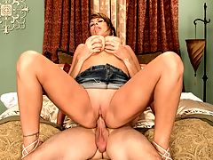 Butt Missile For A Busty Bimbo : Charming bra-stretcher Angelina Verdi is a big-breasted woman who knows exactly what she wants a man to do to her big tits, mouth, cunt and asshole.br br Angelina talks about herself and she describes how she likes her big boobs to be treated, using her own hands first to show us. Then the appropriately-named Joey Hogger arrives to give Angelina what she wants.br br First, lots of attention paid to her nipples and jugs. Returning the favor, Angelina assumes the position on hands and knees to treat him to her mouth moves, taking cock deeply down her throat, licking, sucking and kissing the bloated beef as her tits dangle. He straddles her chest so she can give him a healthy tit-job.br br Hogger licks her cunt to tickle her clit and lube her for easy insertion. They fuck and while she rides his bologna pony on top, tells him to fuck her asshole. She has prepared her anus for a fill-up, her first time on video. He bangs her ass in reverse cowgirl and in doggie for deeper thrusts.br br Angelina wants to suck his dick, and asks him to pull out and bring it over to her mouth so she can taste her ass. Taste her ass. These words make a man want to cry tears of joy.br br Angelina gives him a sloppy BJ and hand-job. Her mouth full of cock, she is unable to answer when Hogger asks her how her ass tastes. She strokes and blows his meat when, with a groan, he spurts his man-juice out all over her tits. She hungrily swallows as much nut-slop as she can.br br All in all, we were impressed by busty Angelinas sexual talents. Shes also managed so far to stay out of the greasy clutches of the numerous porn producers who study and imitate what iSCOREi does. In fact, we havent seen Angelina at all since this scene was shot. Thats the big tit porn lovers loss.