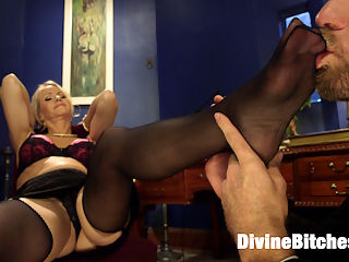 Simone Sonay is Mrs. S ULTIMATE MILF Femdom! : Simone Sonay has arrived to Divine Bitches and she is fierce!!!! Bow down to Mrs. S, boys and be sure not to leave any drool on her perfect petite toes. Mrs. S means business and shes here to teach all you bad boys just how bad youve been! Watch as this uber MILF femdom teaches John a lesson the only way she knows how. SEX!