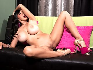 Hawaii 36EEE : Claudia KeAlohas solo cam-shows are very fucking hot and theres no cock to block the sight of her pink-hole. Claudia also is very vocal. The busty brunette has a nice dirty mouth that inspires jacking. She gives good eye-connection too. We highly recommend you check out Claudias bikini show in the iSCOREi models dressing room. Her slim and stacked body is fantastic. She keeps herself in great shape.br br Our Q and A continuesbr br iSCOREi Do you speak any other languages?br br bClaudia KeAloha Yes Spanish and a little Japanese.bbr br iSCOREi Have any busty models been an inspiration or good friend to you?br br bClaudia KeAloha Yes. Summer Sinn. She is a very sweet girl and very smart. Also Minka. She is a super-smart business woman and in incredible shape.bbr br iSCOREi Do you have any one favorite iSCOREi boy-girl scene youve done? What made it so memorable?br br bClaudia KeAloha I love The Return Of Claudia Kealoha. I really enjoyed that one. You guys did a great job of shooting it and the stills are very beautiful. I also had fun in The Hotel Hi-Jacker, Double Play, and I loved working with Tony De Sergio. What a sweetheart. What made those scenes memorable was the guys you use as talent. They were very sweet and, to me, sweet is a huge turn on. You guys hire some very nice guys as talent.bbr br iSCOREi What are your favorite sexual positions?br br bClaudia KeAloha Missionary. Because I love to kiss and have my tits sucked while I am fucking.bbr br iSCOREi What sexually satisfies you the best?br br bClaudia KeAloha There is no telling sometimes with someone you just met. Pheromones, I suppose. Body chemistry. Some guys for no particular reason are a turn-on.bbr br iSCOREi Do you watch adult movies? What kind do you like?br br bClaudia KeAloha Sometimes I like 2 girls and a guy.bbr