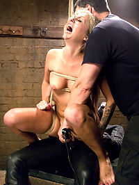 Hot Blondes Must Earn Their Orgasms : Madelyn Monroe is a gorgeous little thing with blond hair and holes that beg to be fucked. However, we arent here to please Ms. Monroes holes, but instead to train them. In exchange for her shot at slave training she offers her asshole and discipline, but she has little idea what that means. After a good hard anal reaming with a huge plug and gimp dick, she is allowed to frivolously cum with the promise that she will pay us back in the last scene. The next scene finds Ms. Monroe giving the most difficult blow job of her life. Clearly this messy little cock sucker is used to giving a good sloppy blow job on her knees, but in this case she is tied into a partial squat with a giant dildo stuffed in her ass. She screams, she begs, she drools, but relief will only come in the form of torturous orgasms and a dick deeper in her throat. The definition of discipline begins to take shape.The last scene begins with our slut trainee posed to repay her orgasms from the first scene. Tied in a strict squat over a stiff gimp dick, she is told to fuck. And not stop fucking until we say. It takes her exactly 15 seconds to realize what she has gotten herself into, and then the begging begins. The begging doesnt stop until she is cumming and swearing and we are satisfied that she has truly earned an orgasm for the first time in her porn career.