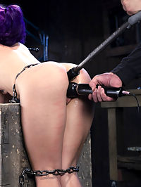 Hard Steel - Kristina Rose : We use a lot of different types of restraints on this site wood, leather, latex, plastic, and steel. Today it was decided that Kristina would be restrained with steel and made to suffer. She is locked tightly and left helpless in every position. She is tormented in cruel ways. She is fucked and made to cum to satisfy the itch of being the slut that she is.