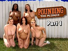 Pounding The Pledges Part 1 : Pounding The Pledges quickly became an extremely popular iSCOREi DVD. This reformatted version for iSCORELANDi brings Gianna Rossi, Sabina Leigh, Tera Cox, Ms. Panther and April McKenzie together for the first and only time. Is it time for a remake with different babes?br br The Omega Boobs sorority house on the campus of iSCOREi University must have new sorority sisters. With a new semester in full swing and an empty house to fill, Gianna spends her time hard at work recruiting fresh sisters. Its not easy. Only a few will make the final cut. What makes life really difficult for Gianna is that the Omega Boobs charter requires that pledges must have big-really big-tits. Giannas dominating techniques and personality make her fit to be the president of a busty sorority.br br In the opener, Gianna hits the campus handing out flyers to the candidates she thinks will make the grade. Once theyre assembled, Gianna puts the girls through some grueling training and then hands out the tasks for the pledges. Sabina and Panther are first. Gianna wants to crush a rival sorority composed of all flattie bitches, as she calls them. She assigns Panther and Sabina to sucker the rival sorority presidents boyfriend into a sex trap and record it. The two bra-busting coeds look forward to carrying out Giannas nefarious scheme.