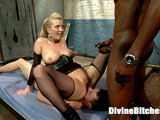 Interracial Cuckolding : Cherry Torn always has young little play things on the side. Mickey is her new toy and totally worships her. Cherry called me up and asked if I would mind setting up a little cuckolding surprise for her naive slave. Mickey was caught totally of guard and Cherry had to bring in a little punishment to get him to submit. Once we got him in chastity and I brought in beautiful bull, Jason Brown, Mickey had nothing to do but make his mistress happy and suck that big black cock getting it all nice and huge and hard for Cherrys lily white perfect pussy! Jasons big load drips off Cherrys beautiful pussy lips and she sits right on top of Mickeys face hand feeding him the only thing hes eating for dinner.