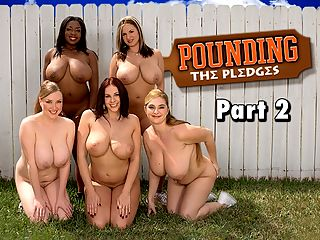 Pounding The Pledges Part 2 : Gianna puts her coed disciples through a grueling pledge week if they want to make the grade and become sorority sisters of Omega Boobs. This time, she has them washing the kitchen floor, and, boy, is she a whip-cracker. Except for April, the other girls leave.br br April continues her kitchen chore alone when one of Giannas big men on campus saunters in. It doesnt take long for April to proudly show him her big tits. They suck, lick and fuck right there in the kitchen. Gianna walks in after he shoots his load on Aprils tits, licks some of the cum off her and asks April who she just fucked. Gianna is delighted and laughs her wicked laugh. She would have made an excellent evil stepsister in a porn version of Cinderella. Shes proud of April. Omega Boobs has the best possible president.br