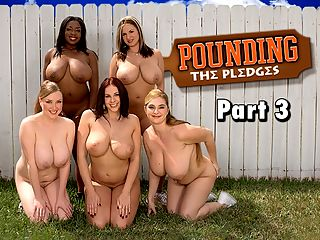 Pounding The Pledges Part 3 : Pledge week continues at Omega Boobs. While Gianna is messing around with the campus stud at the sorority house, big-titted Tera comes over and interrupts their smooshing.br br Gianna tells him to leave so she can speak chick-to-chick to Tera. Tera feels a lack of self-confidence and thinks the other pledges are more advanced than she is. Gianna decides to build up Teras confidence by teaching her all about sex.br br She calls back her BMOC and they team up to teach Tera a lesson in cock sucking, dirty talking, tit-wanking and fucking. By the time they have finished their sex ed course, Tera is skilled at satisfying the cock and having orgasms. Another pledge problem solved!br