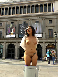 Sexy Spanish Slut Chiara fully exposed on the streets of Madrid : No shirt no shoes no service, sexy spanish slut Chiara Diletto is denied entrance and disgraced entirely outdoors. This sexy spanish trash is dragged all over Madrid, made to scream by Princess Donna, fucked in public, and endures an intense zippering!