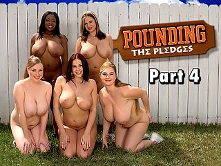 Pounding The Pledges Part 4 : In the cleavage-crowded conclusion to the iSCOREi movie Pounding The Pledges, Giannas pledges April McKenzie, Sabina Leigh, Panther and Tera Cox have made it through their horny assignments and hazes.br br To celebrate their victory, Gianna throws an orgy during graduation so all the pledges can get fucked and invites all of the campus studs over to Omega Boobs. She is truly a generous sorority president. As the dirty-mouthed, hypersexual mistress of ceremonies, Gianna revels in her moment of triumph. She has accomplished her mission of rebuilding Omega Boobs with the best bra-busters at the university.br br Omega Boobs rules!