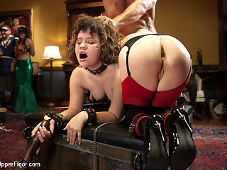 Costume Anal Orgy Part 2 : Penny Pax is All Anal All the Time on the Upper Floor. As the Houses resident Anal Slave, Pax is put in charge of Yhivi, the freshest applicant off the slave block. Yhivi services the scene with her beautiful face and pussy as Pax takes Roman Nomars cock in her ass for the amusement of the House Guests.Pax is ordered to make the little newbie scream, or she takes the Zapper to the clit. Great anal, great guest action and of course the Upper Floor always delivers the hottest new girls on the scene to be trained and used like fine submissive merchandise on the Upper Floor.