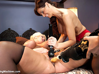MILF WARS - Alura Jens0n and Syren De Mer vs. THE MACHINES : Alura and Syren are MILF zombies! MILF zombies!! Every time we think we have finished them off and that they could not POSSIBLY cum another ounce or another time, their limp hands start groping again for the cock and sure enough, back into their pussies the dongs go and we are up for another epic fucking. We can honestly and with 100 accuracy say - we have NEVER fucked women this long with machines as we did in the duo Lunchbox fucking set where the girls just. wont. die!!!!! Its true MILFs do know how to fuck and how to ask for exactly what they want in the sack. I pity the fool who tries to please these ladies with anything short of a robot cock. Oh and they also squirt and Syren fucks a double penetration machine. Yeah, we quit.