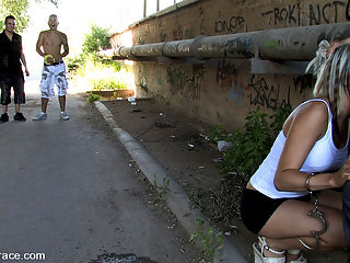 BEST OF EUROPE Leyla Black, Karim, Javier, Ivan, Oliver and Jamal : Leyla Black gets tied up and fucked in public while strangers fondle her tits and finger her holes. She is restrained in latex with a vibrator and electricity under her clothes and made to cum while walking through the streets.Then she gives a handjob to a random dude on the street, covered in cum and left chained to a pole.