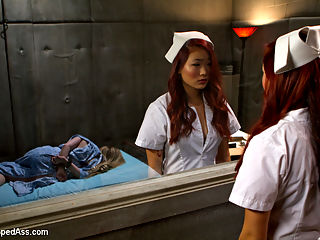 18 Year Old Night Nurse : Welcome 18 year old Lea Hart to Whipped Ass! This young slut is hungry for lesbian BDSM and rough lesbian sex! In this kinky roleplay update Aiden Starr plays an institutionalized psycho who takes down the naive night nurse. Lea is subjected to rough lesbian fisting and strap-on anal sex, hard whipping, clothes pins, pussy licking and squirting at the hands of a crazy horny lesbian! This is a truly intense scene not to be missed!