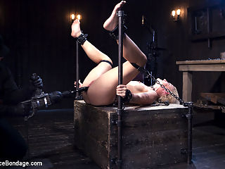 Pussy Assault : Dylan is restrained in wooden stocks around her neck and wrists. Her ankles are locked down in steel pipes. Her clothes ripped away and her body is exposed to the brutal thrashing that reddens her fragile skin. Next she is spread out on our Y table with her pussy exposed and with out any chance of escaping. The cane is precise and painful when it strikes her. She screams to release the weakness from her body, but that doesnt make it stop.In the final scene the suffering continues, and then a full pussy assault. Every possible implement possible is used to terrorize her worn out cunt.