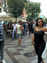 Japanese Slut is humiliated and put on display in Madrid : Sweet Mitsuki is put up for display on a busy street for hundreds of tourists to see. Shes chased and fucked through a public park, while in a straightjacket. Then they sneak her to the back of a store where they shave her pussy. They end up in a dark stairwell, where Sandra Romain and Steve Holmes torment and fuck her while a group of young people watch.