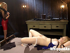 Maitresse Madeline Destroys Horny Anal Pain Slut : On her first shoot at Kink.com, pain slut and lifestyle BDSM player Delirious Hunter submits to the whims and desires of Maitresse Madeline. Woman handling, pussy licking, nipple torture, spanking, whipping, cropping, finger banging, flogging, fisting and multiple orgasms ensue before Delerious is tied to the ceiling and anally strap-on fucked.