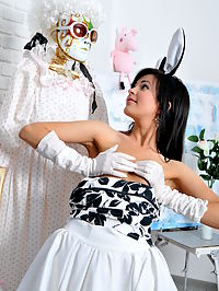 Amazingly hot fluffy bunny : Lace, sexy outfit, no underwear. The best way to show unleashed passion. Amazing dark haired cutie really knows the point.