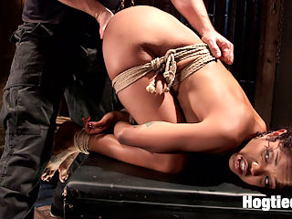 Squirting Ebony Slut : We begin with Lotus bent over and her legs spread. Her skirt is slowly pulled up exposing her ass, then her panties are cut away for us to get our first glimpse of her pussy. Her pussy is then filled with a massive dildo and fucked until she covers the floor with her juices.Next, she is spread out wide and helpless. She is flogged and then back to work on her pussy. This time its relentless and unforgiving, as we see her explode with squirting orgasms until she is exhausted.In the final scene, Louts finds herself in a very compact tie with her ass in the air. She it tormented by tickling her feet, then more pussy play. The goal at the beginning of the day may not have been to drain this squirting slut, but the final outcome of the day proves to be just that.
