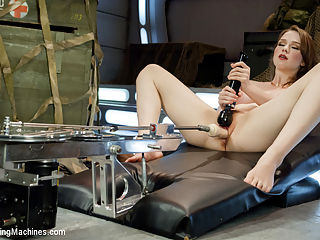 ATTENTION! Hottie on Deck! Our Strawberry Blond Soldier Fucks Machines : Ariana strips out of her fatigues and slips right into a machine dildo! A great day of good ol machine fucking with this sexy newcomer devouring cock and fucking herself into oblivion. We love making her cum in the reverse squat position with Doc Thumper up deep inside her. But some of the best shots of the pussy fucking action come from below with The SatisfyHer as we get right up and underneath her with our camera! Aliana makes a fine addition to the hundreds of hot babes who have experienced the power of multiple, machine orgasms leave them wobbly and satisfied.