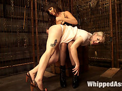 Ella Nova punished in Dana DeArmonds dungeon! : Ella Nova is caught touching herself in Dana DeArmonds dungeon and gets punished for being such a filthy girl! Great chemistry between the ladies with lots of OTK spanking, dildo gag, whipping, ass hook, ass licking, anal plugs and strap-on vag and anal sex!Enjoy,Maitresse Madeline Marlowe