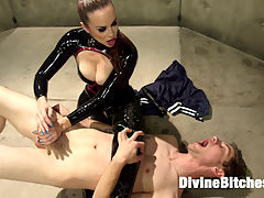 Bella Breaks in a New Toy at the Divine Bitches Milking Facility! : The Divine Bitches have ensnared another unsuspecting slave toy, locking him in their high-tech milking facility - and the seductively terrifying Bella Rossi will stop at nothing to extract the filth coursing deep inside this subs pathetic balls! Rough strap-on anal, OTK spanking, face-sitting, smothering, relentless humiliation, and denial, denial, denial! Mistress Bella even brings out the pumps, forcing this puny cock to stroke itself off inside a machine, before collecting another vial of disgusting male filth serum. Now poor Sam only has a few hours to recover before his next milking!