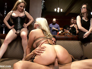 Come Shot Orgy on the Upper Floor : Our VIP Guest Marco Bandaras has a problem He is never satisfied, he suffers from multiple orgasm come shots. We put it to our House slaves whichever slave gets the most come shots wins.Gorgeous Hostess Aiden Starr takes control of the two Hardcore Anal House Slaves Penny Pax and Laela Pryce in a race for the come shots all out orgy of cock service and discipline.