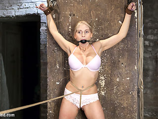 Curvy Big Tits Blonde Bombshell Bound and Molested : Gorgeous Christie Stevens brings her fantastic body to HogTied for us to tie her up and molest her.
