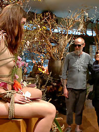 Young Slut Comes Into Full Bloom in City of Public Nudity : Sweet slutty Jodi wanders the streets of San Francisco with her ass out for all to see. She finds a group of nudists and then stumbles upon a flower shop. Her fantasy comes to life when she is dominated into submission in front of customers. Shes rope bound, fucked by a huge cock, and dominated by beautiful female patrons. Shes is covered in cum and piss.