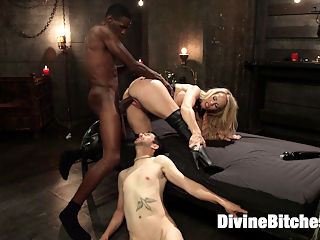 Mrs. S cuckolds her slave with big black alpha cock! : Mrs. S is back in a brutal interracial cuckolding domming her slave, Jay Wimp! Jay is totally in love with his Mistress. He would do anything she asked even if it meant sucking dick, taking a cum load to his face and watching the woman he loves get fucked by a big black alpha cock!