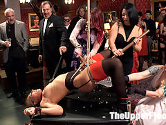 Two Slutty Slaves Service Cock : The Upper Floor continues to bring you the hottest, newest girls in the business and turn them into your House Slaves. Beautiful redhead Amarna Miller is mentored by Anal Slave Slut Savannah Fox in the fine art of Cock Service on the Upper Floor.