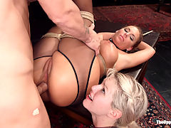 All Anal Slave Girls Training the Gape! : The asshole of a House Slave should gape on demand, and Ella Novas tight little ass needs training. Our slaves deserve the best training so we arranged for Miss Phoenix Marie to come show Ella how it is done.