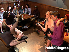 Slutty Veruca Publicly Shamed and Fucked Hard in Crowded Bar : Slutty bombshell Veruca finds her match at a local bar. She arrives already bound and ready to get fucked in the ass. She loves to suck cocks while being teased and gawked at by the large crowd. Shes then bound with her leg tied to the ceiling, pussy and ass spread wide open for anal. Shes fucked in every hole by 2 giant cocks and covered in cum while Mona Wales and Ella Nova help get her off.