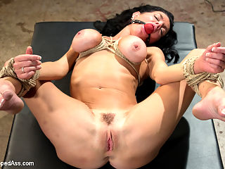 MILF Squirts for Hours Veronica Avluv double fisted, anally fucked! : Ravenous MILF Veronica Avluv finds herself at the mercy of Goddess Aiden Starr who clamps her tits, spanks her OTK, double fists her, strap-on anally fucks her and makes her come all over the room, all day long! The horny MILF rides Aidens thigh high leather boots, squirts all over them and runs her tongue up and down them, cleaning up her own filthy juices. Veronica eats Aidens ass and licks her pussy until she satisfies her domme over and over again with multiple uncontrollable orgasms!!!