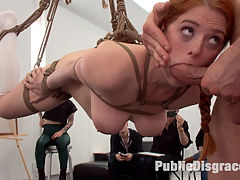 Slutty redhead shocks art students by taking giant cock in all holes : Slutty redhead art student Penny Pax gets publicly fucked and humiliated in front of shocked art students. Bill Bailey punishes this anal whore with corporal, rope bondage, and fucks her in every hole. He then makes this slut suck stranger cock and get covered in cum. Finally everyone laughs and humiliates Penny while being fucked in suspension. Pencil me in for next week red!